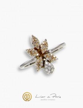 Bague Or Blanc & Rose 18K, Diamants