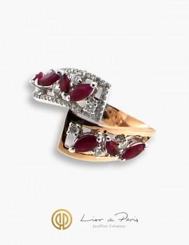 Bague Or Blanc & Rose 18K, Rubis, Diamants