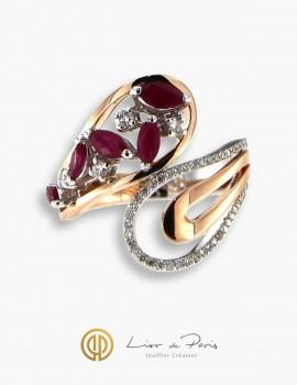 Bague Or Rose & Blanc 18K, Rubis, Diamants