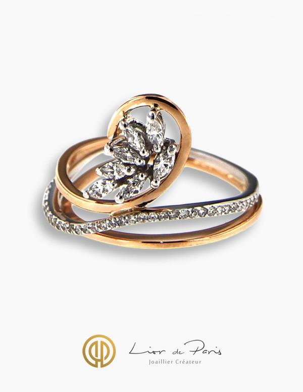 bague or blanc diamant createur